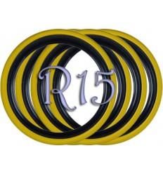Флипперы Twin Color black-yellow R15 (4 шт.)